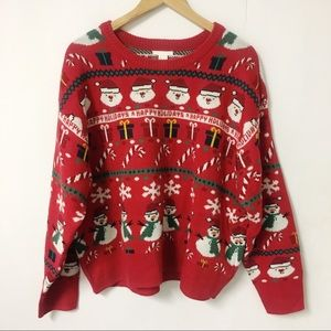 H&M 2018 Red Ugly Christmas Sweater Jacquard Knit